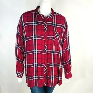 Denim 24/7 Plaid Blouse Shirt Button Front 32W